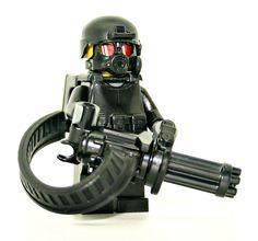 Minigun Trooper Minifigure - Modern Brick Warfare Toys