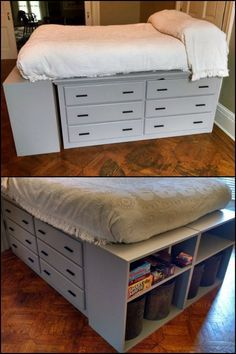 Create that perfect storage solution with this dresser platform bed from scratch