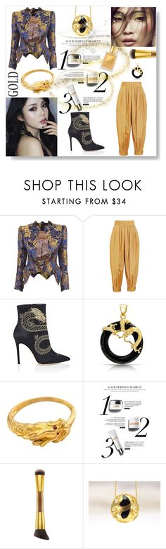 """""""Oriental Alchemy"""" by mimjersey ❤ liked on Polyvore featuring Vivienne Westwood Gold Label, Gucci, Gianvito Rossi, Bling Jewelry and tarte"""