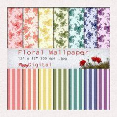 Digital Paper Pack Vintage Floral Stripes Wallpaper Patterns Backgrounds Texture Overlay - Instant Download