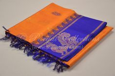 Orange Silk Cotton Saree with Grand Violet Pallu & Swan Butta Border Silk Cotton Sarees, Swan, Orange, Bags, Handbags, Swans, Dime Bags, Lv Bags, Purses