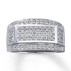 His ring! Mens Diamond Ring  1 ct tw Round-cut  10K White Gold