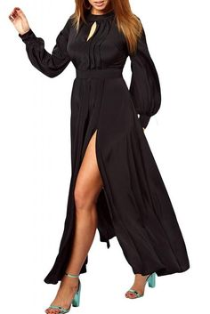 Plus Size Frilled Maxi Dress with Bell Sleeves Def Planet defplanet.com