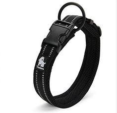 "TRUELOVE Adjustable Nylon Pet Collar Padded 4/5"" Large 3M Reflective Dog Collar with Ring(Black, Large)"