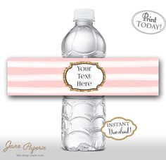 Printable Water Bottle Labels Light Pink Baby By Purdyprintsnyc