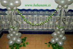 Columnas en plata modelo farola para delimitar espacios en salones y eventos. Babanam.
