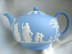 Wedgwood White on Blue Jasper Large Full Size Teapot
