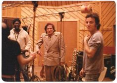 """Robin Williams in the studio with Clarence Clemons and Bruce Springsteen during the recording of """"The River"""" in 1980. """""""
