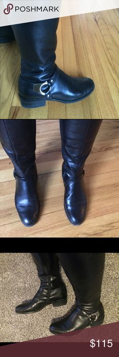 Frye Philips Harness boot Black Frye Phillips Harness boot! In great condition, a few marks on toe  area, guessing it would probably come off with buffing or polish.   Very comfy, I have muscular calves, and they fit well.  See pic for full inside zipper. Frye Shoes Heeled Boots