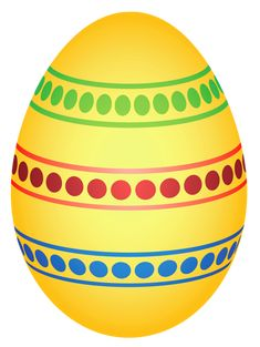 Yellow Colorful Dotted Easter Egg PNG Clipairt Picture