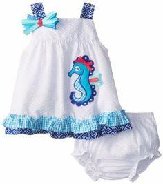 Seersucker Seahorse Dress 6mo or 9mo sizes $35.00  http://www.sassnfrass.net/#a_aid=MandyRobinson #seersucker #dress #baby #seahorse #cute