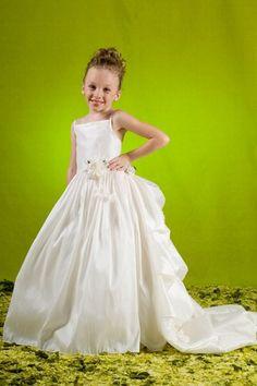 Square Floor-length Applique Taffeta Romantic Ball Gown Flower Girl Dress
