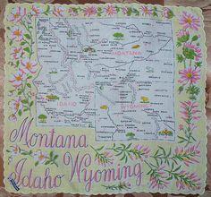 Montana + pink bitterroot + Idaho pink mock-orange flowers + Wyoming + pink Indian paintbrush [state map handkerchief / scarf]
