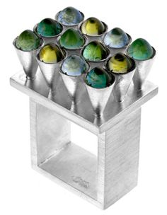 Gaál Gyöngyvér - ring with 12 cones variation - silver, tourmaline, emerald, aquamarine, peridot - 2006