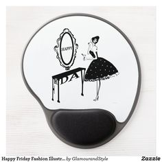Happy Friday Fashion Illustraton Gel Mouse Pad Black And White Office, White Desk Office, Fashion Illustration Vintage, Happy Words, Cocktail Glass, Happy Friday, Creative Business, Business Cards, Vintage Fashion