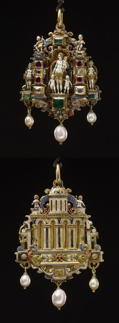 Pendant jewel; gold; centre: Charity with three children standing; pilaster at each side set with diamonds and rubies; surmounted by Cupid playing musical instrument; beyond each pilaster is figure, one representing Faith, the other Fortitude; top set with emerald flanked by two scroll masks; beneath centre is emerald between two lions; below, group of fruit and pearls; back of architectural design of four arches surmounted by dome, with enamelled frieze below. 1551-1575. Antwerp or Germany