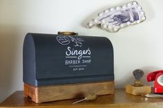 Vintage Barber set that's been recycled, reclaimed from an old singer sewing machine, Upcycling ideas, Gifts for the barber who has everything Vintage Thrift Stores, Vintage Shops, Upcycled Vintage, Repurposed, Unwanted Furniture, Shop Work Bench, Shop House Plans, Cabinet Makeover, Vinyl Shirts