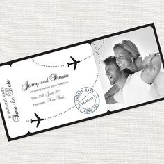 printable save the date boarding pass photo card by idoityourself