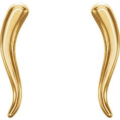 14kt yellow gold horn earrings. Find them at a jeweler near you: www.stuller.com/locateajeweler #horn #gold #jewelry