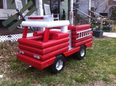 Fire Truck Planter Firefighter Home Decor, Firefighter Family, Firefighters Wife, Firefighter Tools, Firefighter Wedding, Firemen, Fire Dept, Fire Department, Outdoor Projects