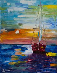 Colorful Abstract - Sailboat at Sunset, Modern Impressionist Palette Knife Oil Painting, 11x14 stretched canvas