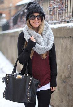 Love the black and that. Scarf!
