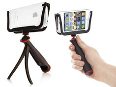 Slingshot... stabilizes smartphones for video. Can also be used as a tabletop tripod or attached to a traditional tripod.