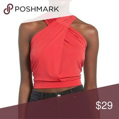 """❤ NWT Leith Ruched Halter Top Show off your midriff in a daring crop top made with a plunging surplice neckline and twisted straps in back.  - 16"""" length. Waist is 13"""" flat.  - Slips on over head - Plunging neck - Sleeveless - 95% polyester, 5% spandex - Hand wash cold, dry flat - True to size: M=8-10    Color: RED-BARBERRY Leith Tops"""