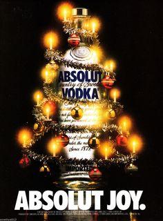 ABSOLUT JOY VODKA AD 1988 ORIGINAL MAGAZINE AD ~ CHRISTMAS TREE
