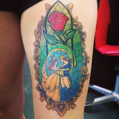 My new beauty and the beast tattoo as of 11-4-13 Just the beginning of my Disney leg sleeve (: