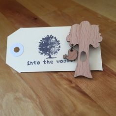 Bird in a tree brooch , wooden laser cut brooch