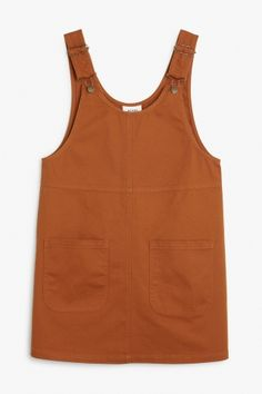 Monki Image 2 of Rounded neck dungaree dress  in Orange Yellowish Dark