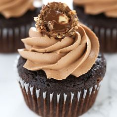Ultimate Nutella Cupcakes feature my perfect chocolate cupcake base which is filled with Nutella, topped with Nutella buttercream, and a Ferrero Rocher!