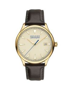 Movado  Mens Heritage Series Calendoplan Gold Dial Watch