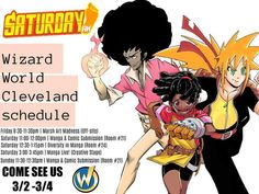 Hey guys! The crew at @saturday_am is coming to @wizardworld Cleveland!  Come meet the awesome creators of Soul Beat (@al.durante )  Paradise Down (@spaceandstuff ) and Clock Striker!  Wanna make #manga and join the ranks of Saturday AM? There will also be portfolio reviews!  And don't forget the #MarchArtMadness Drink and Draw edition where you can win awesome prizes!  Get 20% off your tickets to Wizard World with the code: saturdayam  #shonen #shonenjump #shonenmanga #wizardworld…