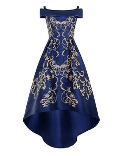 Embroidered Bardot-style off shoulders and dip hem gown in navy blue with gold embroidery, House of Fraser, Chi Chi of London.