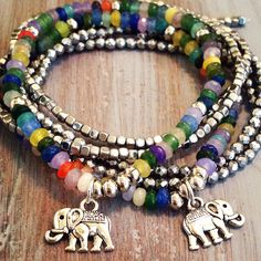 indietiez Etsy Shop Gemstone Elephant Charm Bracelet Coming Soon!