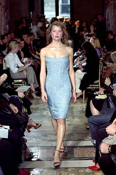 Collette Dinnigan | Spring 2000 Ready-to-Wear | 55 Blue embellished strappy midi dress