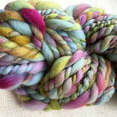 I'm Blue - Hand dyed, handspun thick and thin art yarn