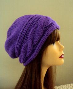 Slouchy Beanie Hand Knit Purple Slouchy Cabled Hat Chunky Beanie Mohair Acrylic Women Winter Clothing Accessories Gift Ideas Under 50 by GrahamsBazaar, $32.99