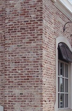 Ideas Exterior Brick Whitewash Black Shutters For 2019 Exterior House Colors, Exterior Paint, Exterior Siding, Window Shutters Exterior, Black Shutters, Window Awnings, Brick Colors, Old Bricks, Exterior Makeover