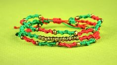 Boho Spiral Bracelets in Christmas colors - Easy Tutorial #DIY #Bracelets #ChristmasGifts #Jewelry #Tutorial