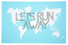 One Kings Lane - Pieces of Inspiration - Let's Run Away Print, Blue