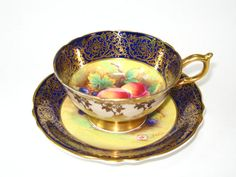 PARAGON Cobalt Gilt Hand Painted Fruits Tea Cup & Saucer Set Signed English Bone China Queen Mary