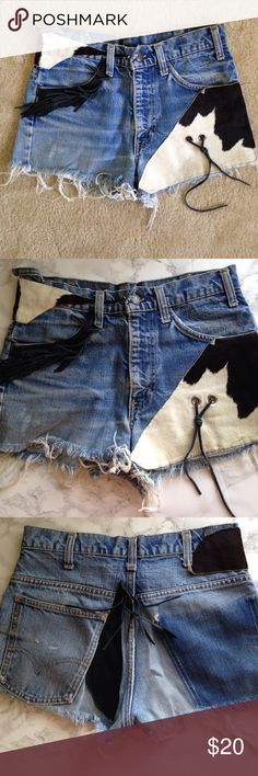 Levi's High Waisted Custom Cowboy Shorts XS Custom altered Levi's vintage shorts.. has patches of fur, rope and Tassel!! YEEEHAW! XS fits like a 0 Shorts Jean Shorts