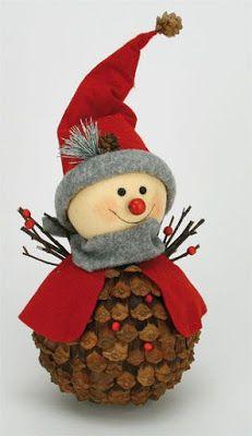 Decoración navideña con piñas muy fácil de hacer ~ cositasconmesh