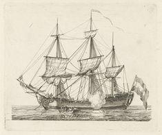 Driemaster met vlag en een roeiboot, Gerrit Groenewegen, 1769 - 1826