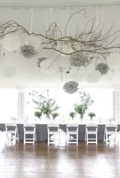 Pompom gris decoration de table mariage idee