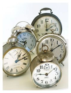 Vintage Alarm clocks. Cute in guest room..
