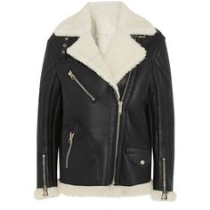 Golden Goose Deluxe Brand Fay oversized shearling coat (£1,755) ❤ liked on Polyvore featuring outerwear, coats, jackets, black, coats & jackets, black shearling coat, black coat, oversized coat, black oversized coat and golden goose